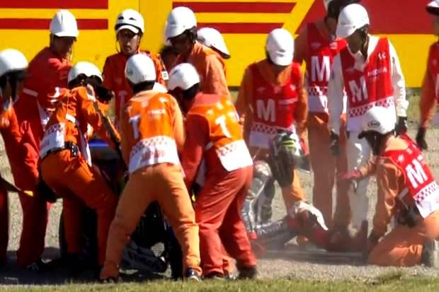 Insiden kecelakaan kembali menimpa sirkus MotoGP di Sirkuit Twin Ring Motegi, Jepang, Sabtu (15/10/2016) /